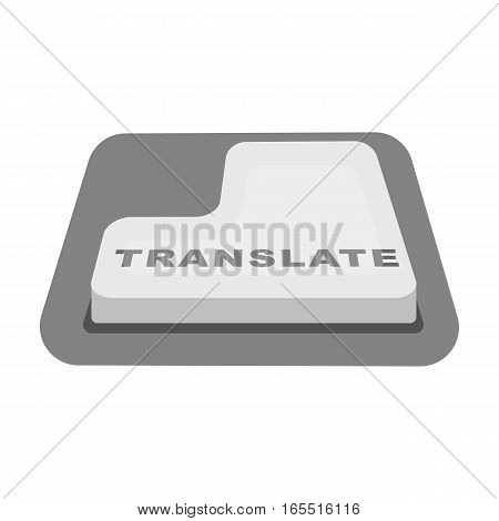 Translate button icon in monochrome design isolated on white background. Interpreter and translator symbol stock vector illustration.