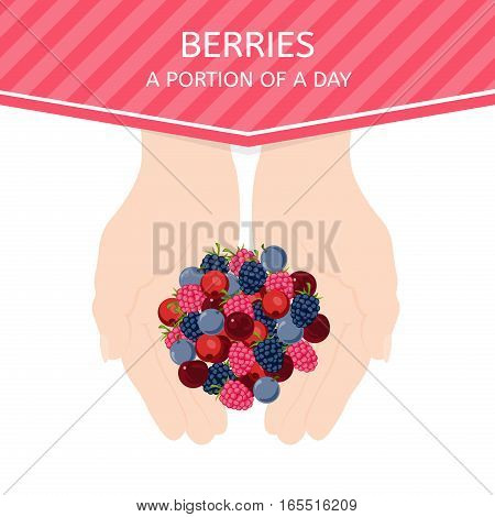 Female hands hold fresh berries. The optimum size of the daily portion of berries. Raw food diet