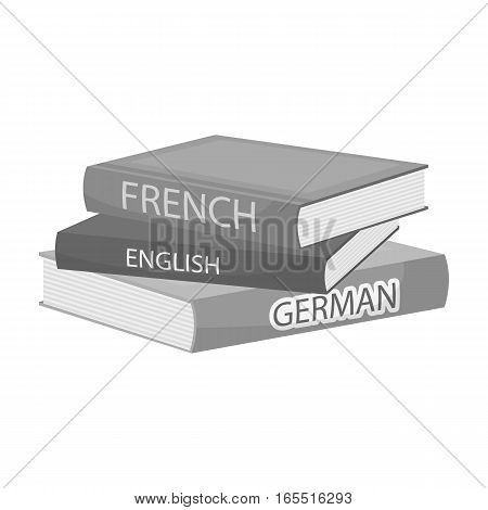 Various dictionaries icon in monochrome design isolated on white background. Interpreter and translator symbol stock vector illustration.
