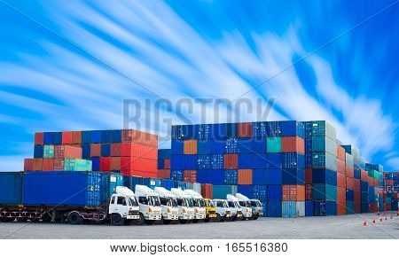 Containers shipping and Trucks for import-export commercial logistic shipping business industry