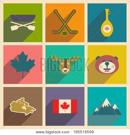 Set of flat icons with long shadow Canada