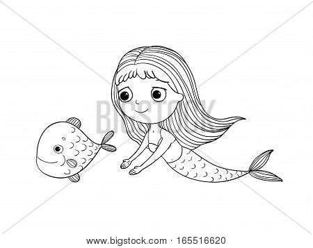 Beautiful little mermaid and fish. Siren. Sea theme.Hand drawn vector illustration on a white background.