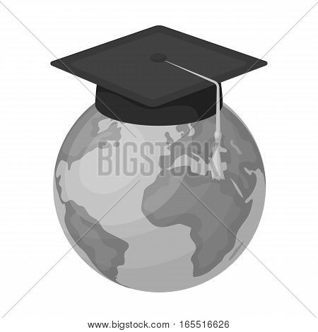 Multilingual planet icon in monochrome design isolated on white background. Interpreter and translator symbol stock vector illustration.