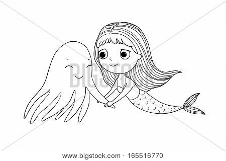 Cute cartoon mermaid and octopus. Siren. Sea theme. Hand drawing isolated objects on white background. Vector illustration.