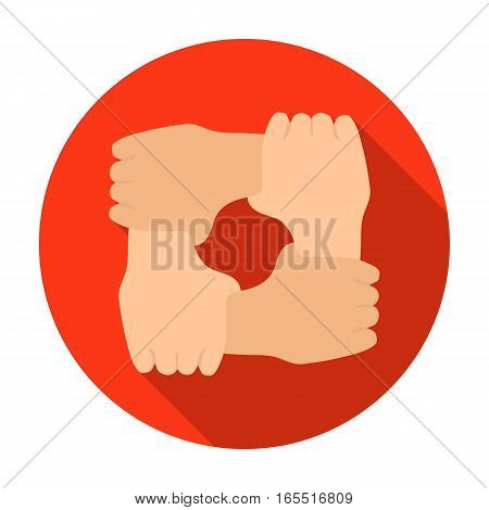 Ring of hands icon in flat design isolated on white background. Charity and donation symbol stock vector illustration.