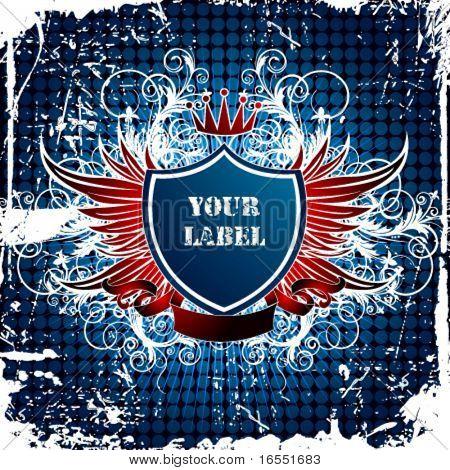 Retro shield label