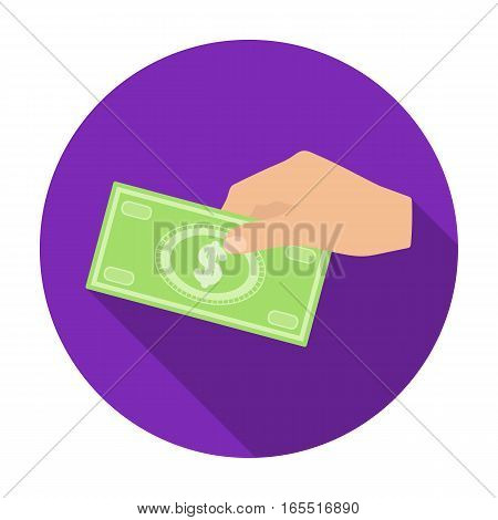 Hands giving money icon in flat design isolated on white background. Charity and donation symbol stock vector illustration.