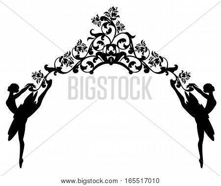 ballet dancers and rose flowers - black and white vector decorative design