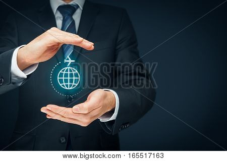 Travel insurance and business travel concepts. Insurance agent or businessman with protective gesture and icon of plane and globe. Left composition.