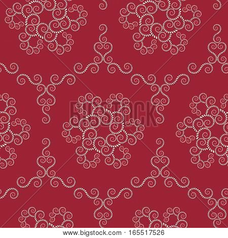 Seamless lace pattern. Vintage swirl texture. Spiral floral snowflakes. Twist ornament of laurel leaves. Light rosy on dark red colored background. Vector