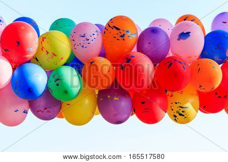 multicolored balloons isolated on white background  .