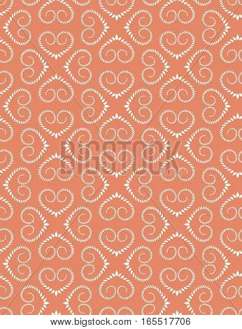 Seamless heart pattern. Vintage texture. Twist ornament of laurel leaves. Orange, white, soft colored background. Love, birthday, Easter theme. Vector