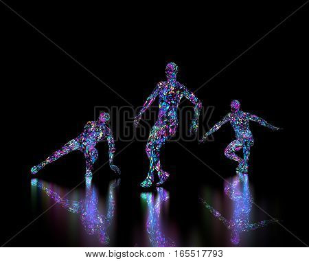 Abstract dancers on black background with reflection