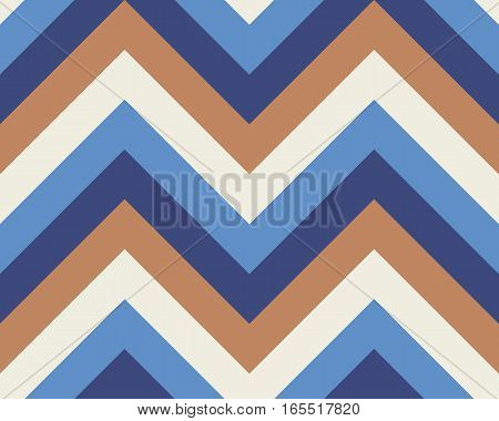Striped, zigzagging seamless pattern. Zig-zag line texture. Stripy geometric background. Blue, white, orange contrast colored. Vector