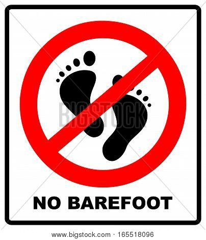 No Barefoot Sign Red Vector Photo Free Trial Bigstock