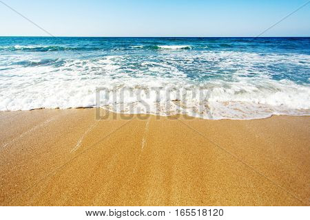 Coastline with waves. Sea coast background for text.