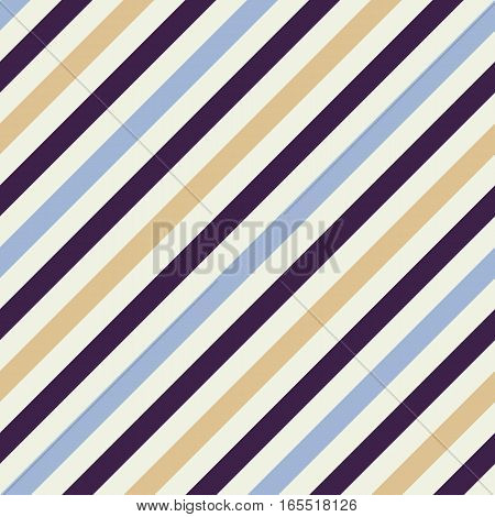 Seamless geometric pattern. Stripy texture for neck tie. Diagonal contrast strip background. Blue, beige, dark purple cream colors. Vector