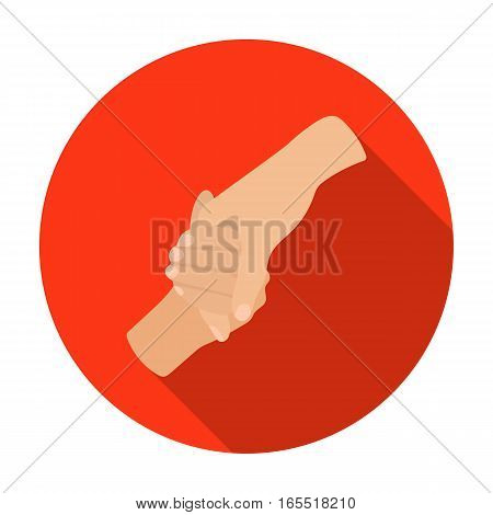 Hands holding icon in flat design isolated on white background. Charity and donation symbol stock vector illustration.