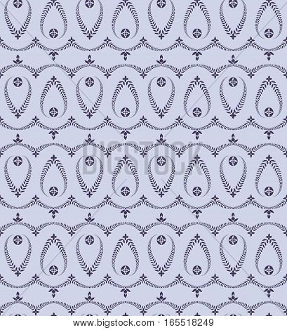 Religion seamless pattern. Laurel wreath, lace view texture with cross. Ceremonial, funeral background. Swirl stylized ornament. Blue, violet colored. Vector