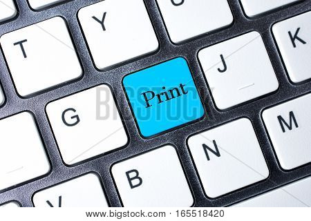 Print button on blue color computer keyboard
