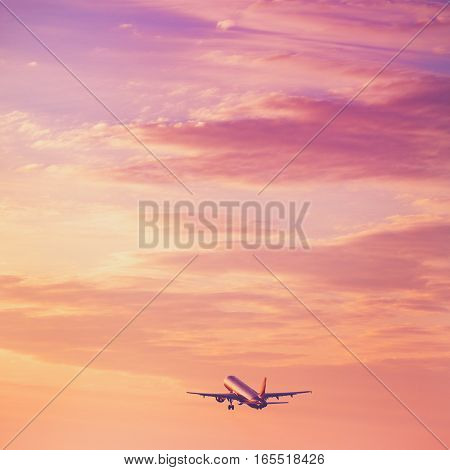 Airplane Taking Off At The Sunset Sky