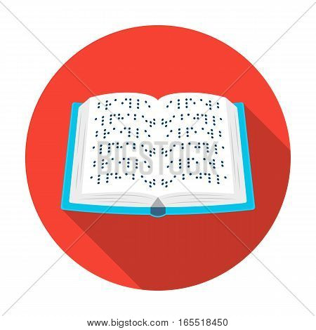 Book written in braille icon in flat design isolated on white background. Interpreter and translator symbol stock vector illustration.