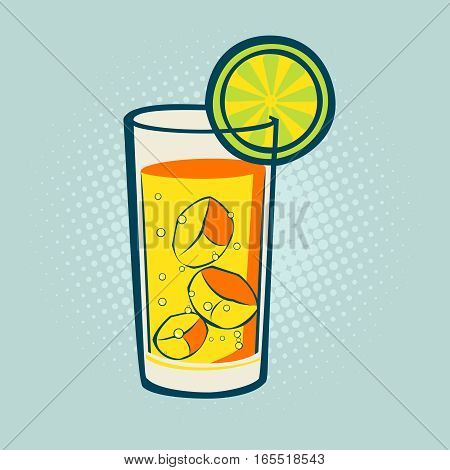 Drink with lime and ice. Vector fresh lime drink cold ice cocktail , tropical fresh citrus water, art retro style