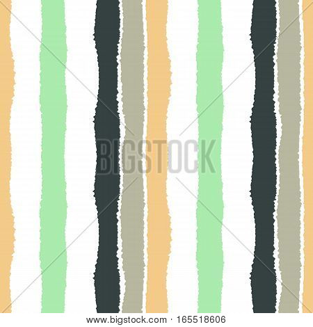 Striped seamless pattern. Vertical wide lines with torn paper effect. Texture of shred edge band. Orange, brown, green, white olive cold colored background. Vector