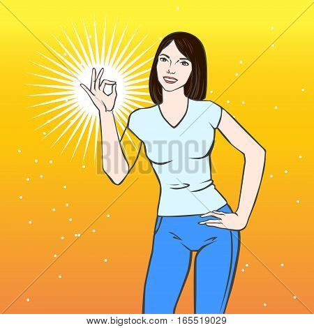 Vector illustration with beautiful asian woman showing ok sign in pop art style