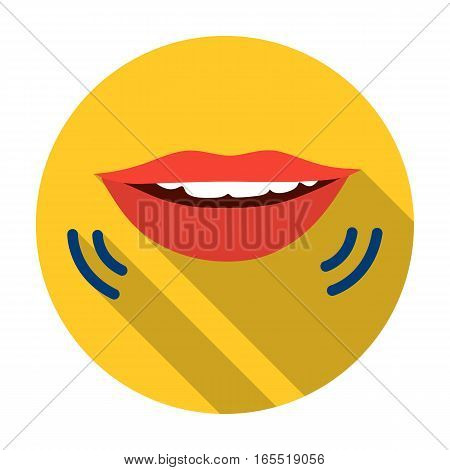 Speaking mouth icon in flat design isolated on white background. Interpreter and translator symbol stock vector illustration.