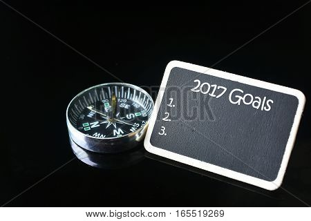 Goals for new year on small blackboard