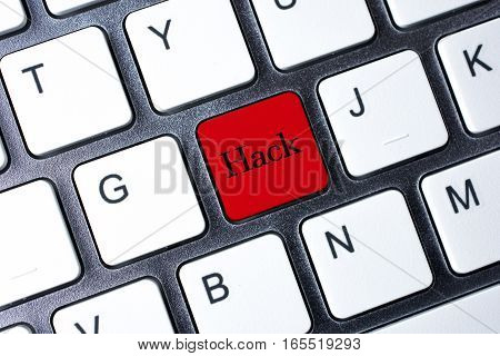 Hack button on red color computer keyboard