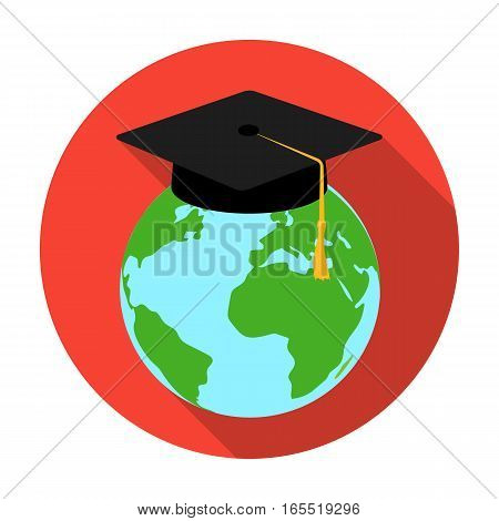 Multilingual planet icon in flat design isolated on white background. Interpreter and translator symbol stock vector illustration.