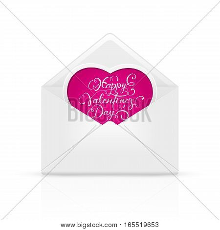 Open envelope mail with lettering Happy Valentines Day on pink heart, illustration.