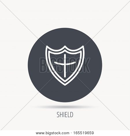 Shield icon. Protection sign. Royal defence symbol. Round web button with flat icon. Vector