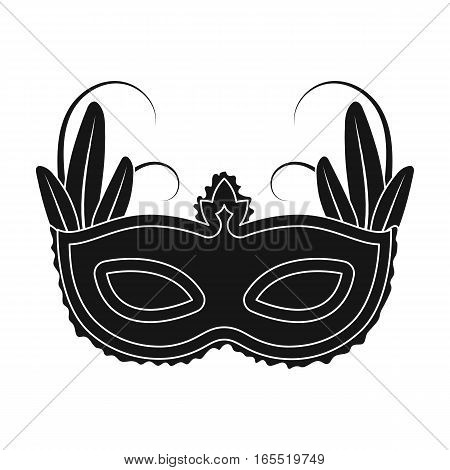 Brazilian carnival mask icon in black design isolated on white background. Brazil country symbol stock vector illustration.