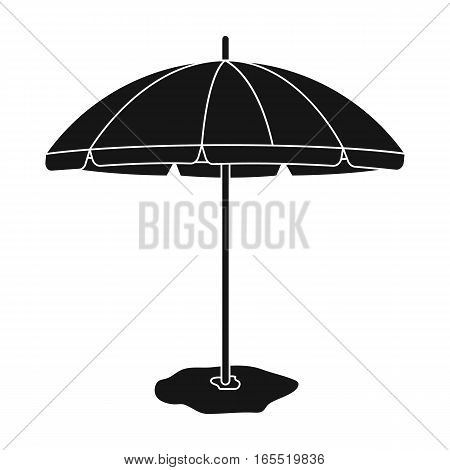 Yelow-green beach umbrella icon in black design isolated on white background. Brazil country symbol stock vector illustration.