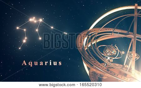 Zodiac Constellation Aquarius And Armillary Sphere Over Blue Background. 3D Illustration.