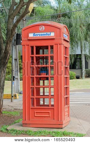 Londrina PR Brazil - December 24 2016: Londrinas red telephone booth inspired by the telephone booths of London.