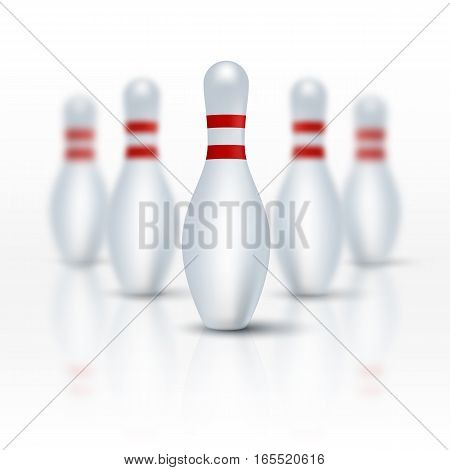 Bowling pins on white floor isolated on white. Vector illustration