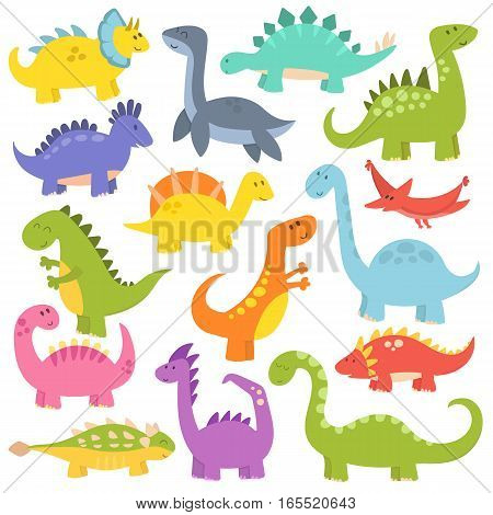 Vector collection of cute cartoon dinosaurs. Funny monster animal tyrannosaurus. Lizard prehistoric wild comic triceratops predator character.