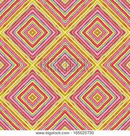 Striped diagonal rectangle seamless pattern. Square rhombus lines with torn paper effect. Ethnic background. Yellow, pink, aqua colors. Vector