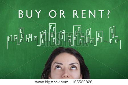 Buy or rent real estate property management concept