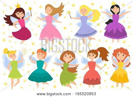 Cute girls in fly vector illustration. Fairy princess adorable characters. Imagination beauty angel with wings. Smile beautiful young butterfly magic fantasy kid.