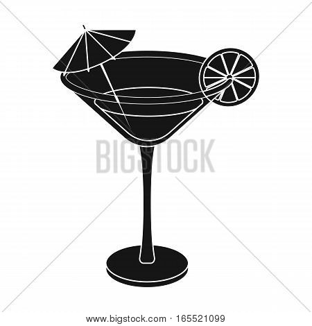 Lemon cocktail icon in black design isolated on white background. Brazil country symbol stock vector illustration.