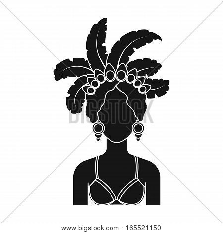 Samba dancer icon in black design isolated on white background. Brazil country symbol stock vector illustration.