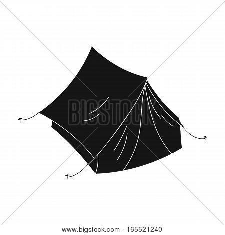 Yellow tent icon in black design isolated on white background. Family holiday symbol stock vector illustration.