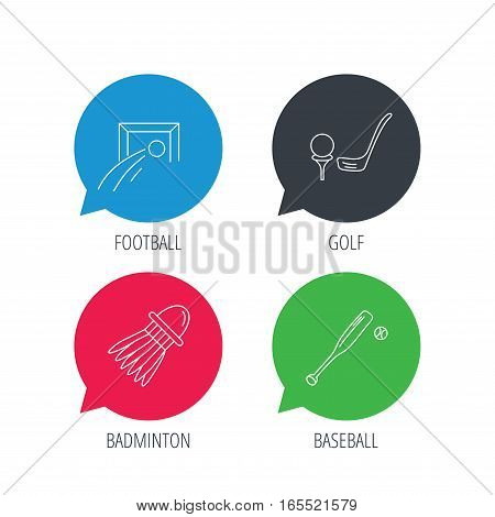 Colored speech bubbles. Baseball, football and golf icons. Badminton linear sign. Flat web buttons with linear icons. Vector