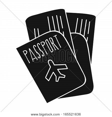 Passport icon in black design isolated on white background. Family holiday symbol stock vector illustration.