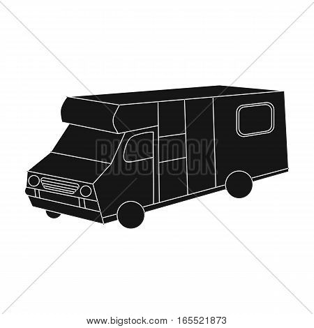 Campervan icon in black design isolated on white background. Family holiday symbol stock vector illustration.